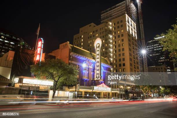 downtown austin texas at night - paramount theater austin stock pictures, royalty-free photos & images