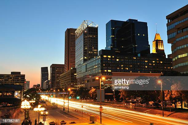 downtown baltimore at dusk - baltimore stock photos and pictures