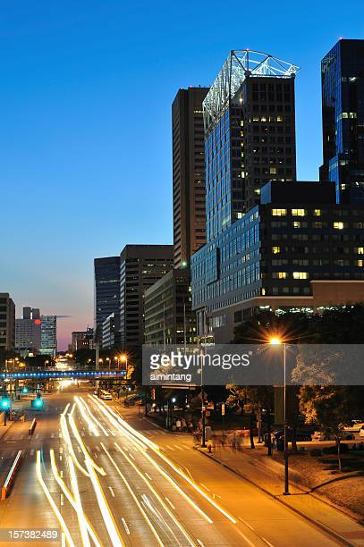 downtown baltimore at night - baltimore stock photos and pictures