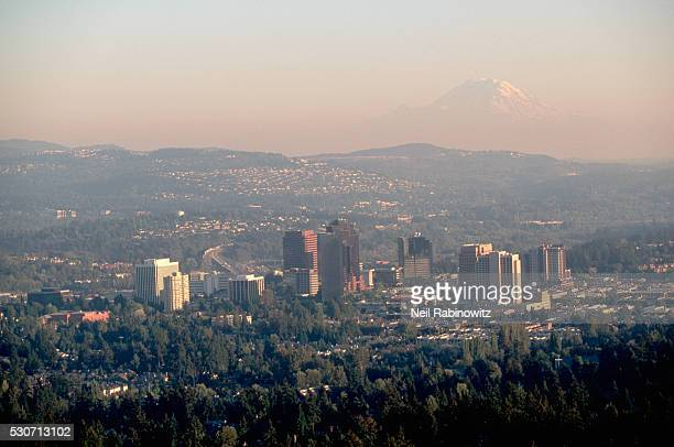 downtown bellevue and mount rainier - bellevue skyline stock pictures, royalty-free photos & images
