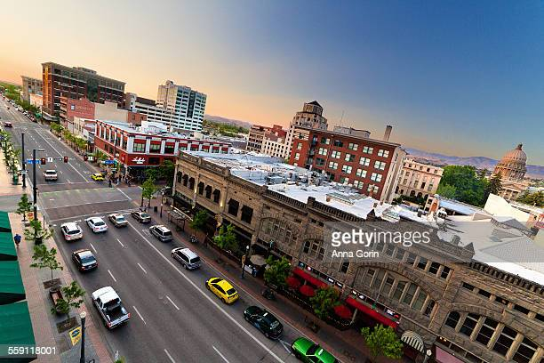 downtown boise, idaho, high angle view - idaho stock pictures, royalty-free photos & images