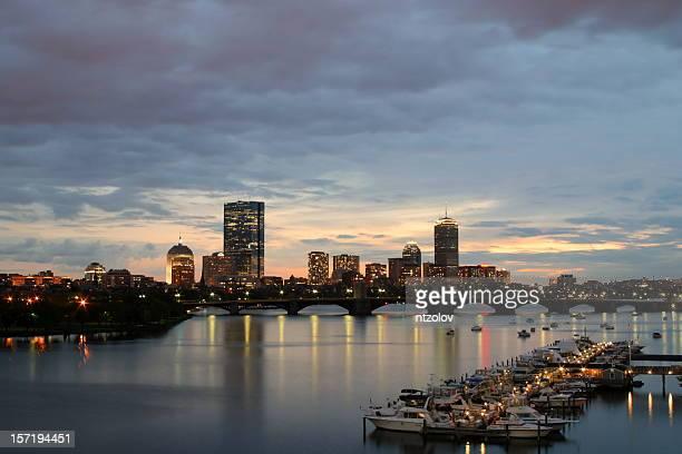 downtown Boston at sunset