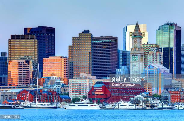 downtown boston massachusetts skyline - boston skyline stock pictures, royalty-free photos & images
