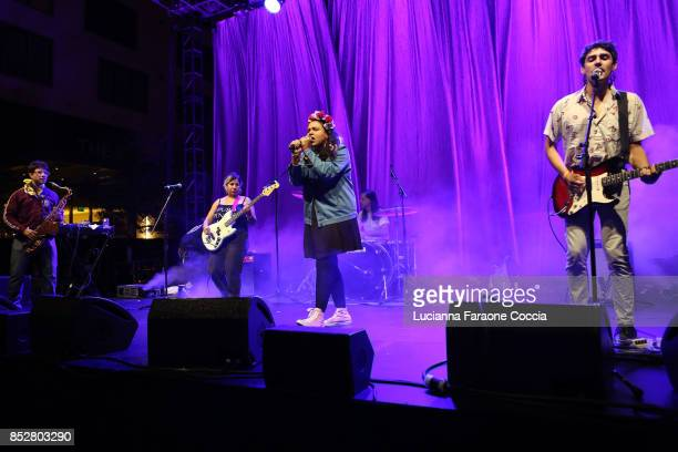 Downtown Boys performs onstage at The Broad on September 23 2017 in Los Angeles California