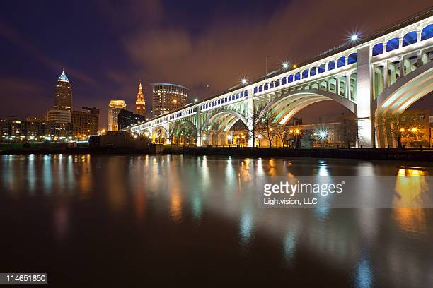 downtown bridge reflection - cleveland, ohio - cleveland ohio stock photos and pictures