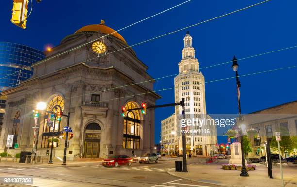 downtown buffalo, new york with the electric tower and m&t bank. - buffalo new york state stock pictures, royalty-free photos & images