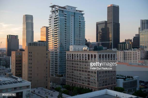 downtown buildings at los angeles, usa - cbd stock photos and pictures