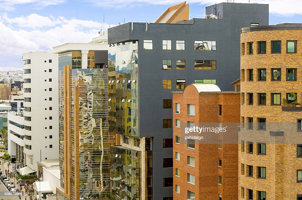 downtown buildings with glass windows : Stock Photo