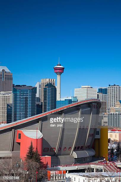 downtown calgary skyline - calgary stock pictures, royalty-free photos & images