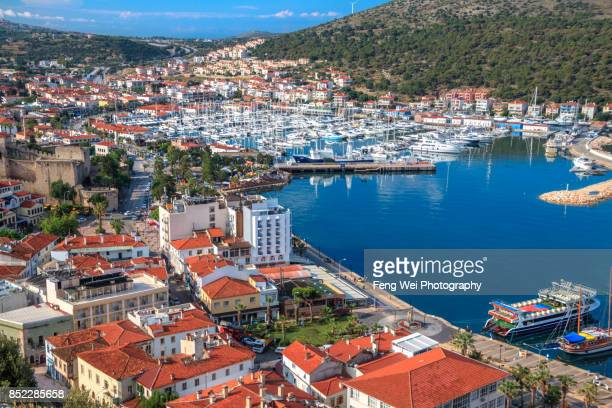 downtown cesme, cesme peninsula, izmir province, aegean region, turkey - izmir stock pictures, royalty-free photos & images