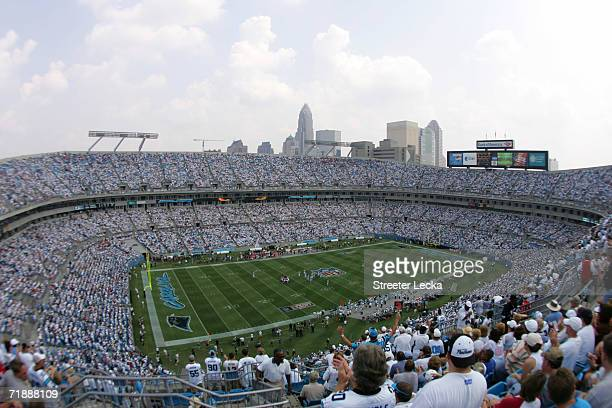 Downtown Charlotte North Carolina can be seen from Bank of America Stadium during the game between the Atlanta Falcons and the Carolina Panthers on...