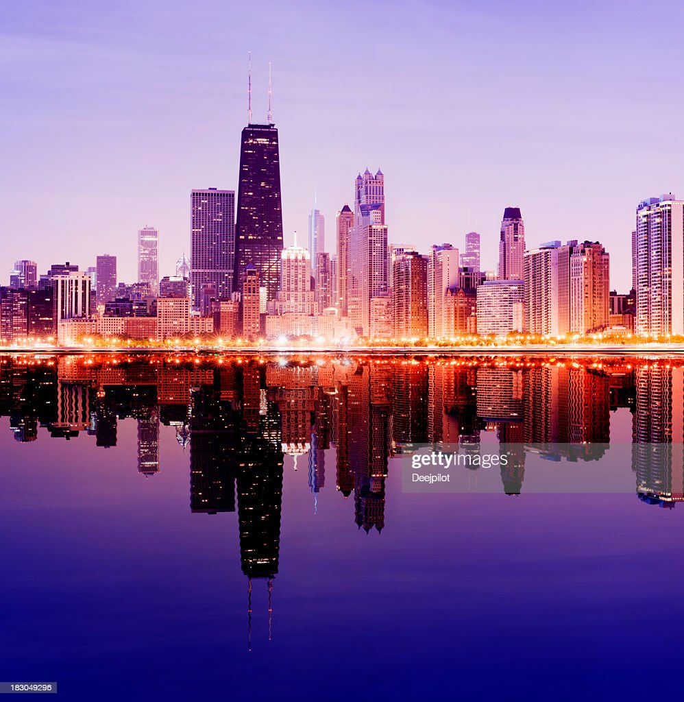 Downtown Chicago City Skyline in Illinois USA : Stock Photo
