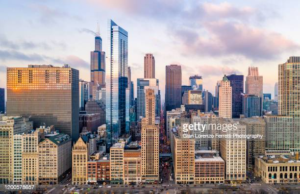 downtown chicago cityscape from grant park - chicago illinois stock pictures, royalty-free photos & images
