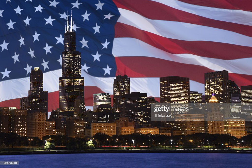 Downtown Chicago composite with American flag : Stock Photo
