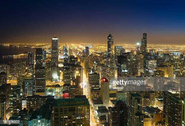 Downtown Chicago from Above at Dusk