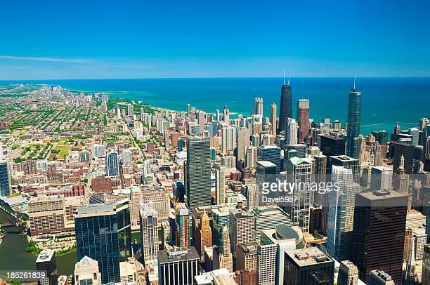 Downtown Chicago, Lake Michigan, and lakefront neighborhood skyline aerial