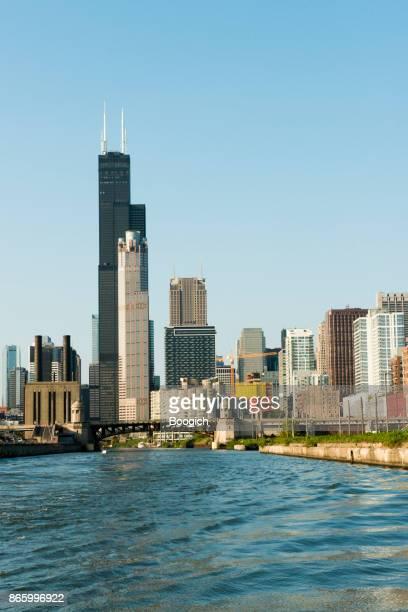 Downtown Chicago Skyline Blick mit Willis Tower Architektur Sonnentag