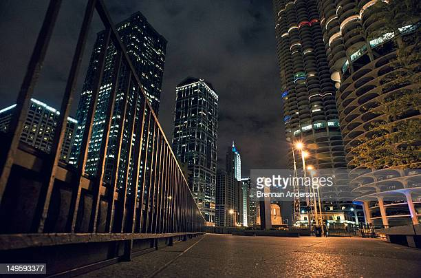 Downtown Chicago streets at night
