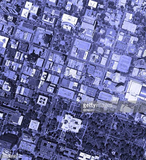 DownTown City Blue Crowded Aerial Above block streets