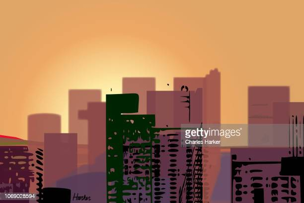 Downtown City Digital Illustration in orange sunset