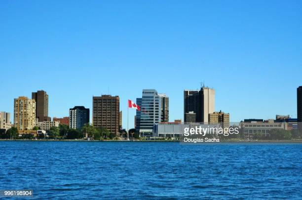 downtown city skyline on the river - local landmark stock pictures, royalty-free photos & images