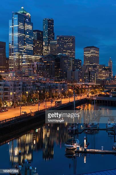 Downtown city waterfront at night Seattle Washington