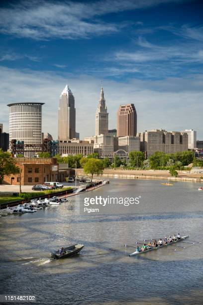 downtown cleveland city skyline in ohio usa - cuyahoga river stock photos and pictures