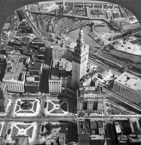 Downtown Cleveland with its Public Square the Union Passenger Terminal Tower and the Cuyahoga River Cleveland Ohio c 1929