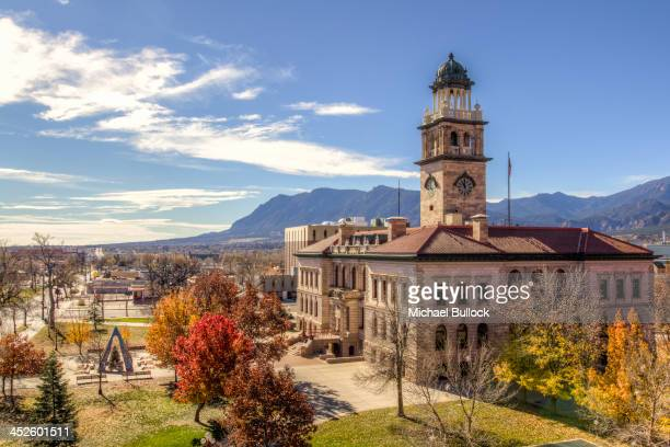 Downtown Colorado Springs, Colorado. Colorado Springs sits on the edge of the Rocky Mountains, on Colorado's front range. The view is mostly to the...