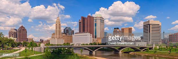 Downtown Columbus Ohio and Scioto River Park in the afternoon