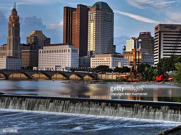 downtown columbus ohio and scioto river - columbus ohio stock pictures, royalty-free photos & images
