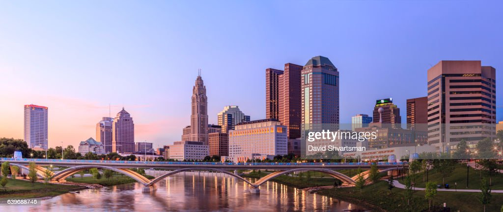 Downtown Columbus Reflection In The River at the blue hour, Ohio, USA : Stock Photo
