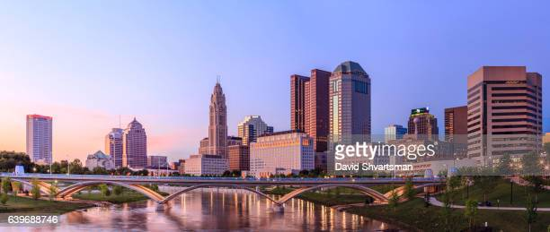 downtown columbus reflection in the river at the blue hour, ohio, usa - ohio stock pictures, royalty-free photos & images