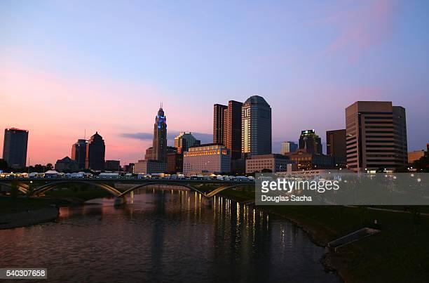 Downtown Columbus skyline along Scioto River, Columbus, Ohio, USA
