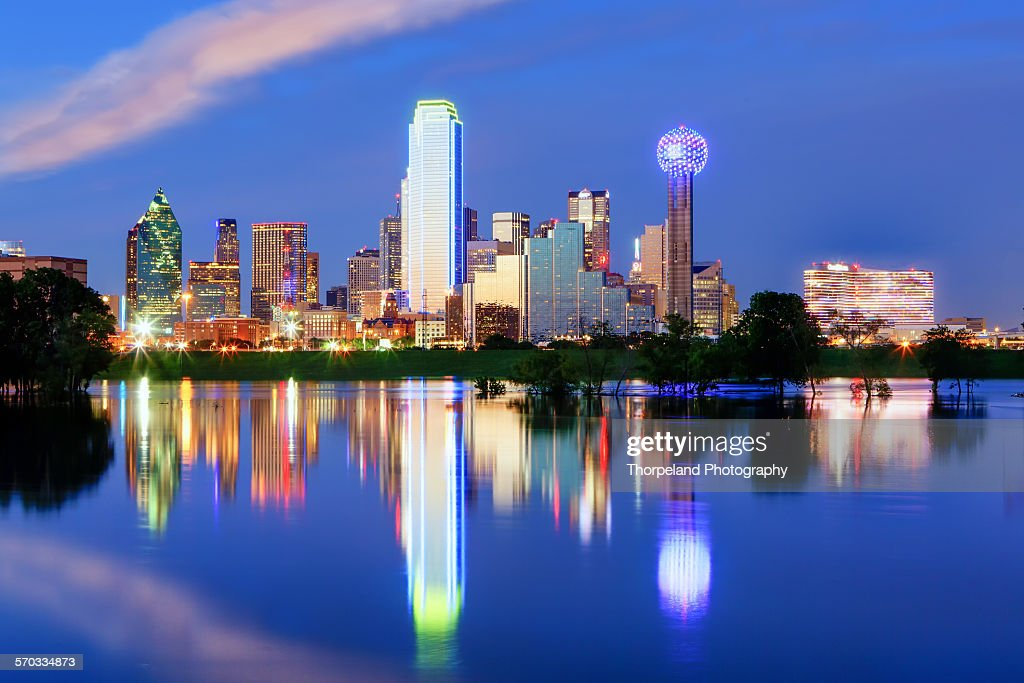 Downtown Dallas Texas with the Trinity River : Stock Photo