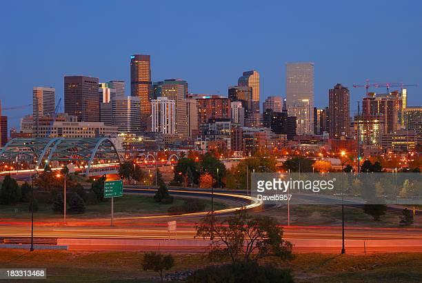 Downtown Denver skyline at dusk