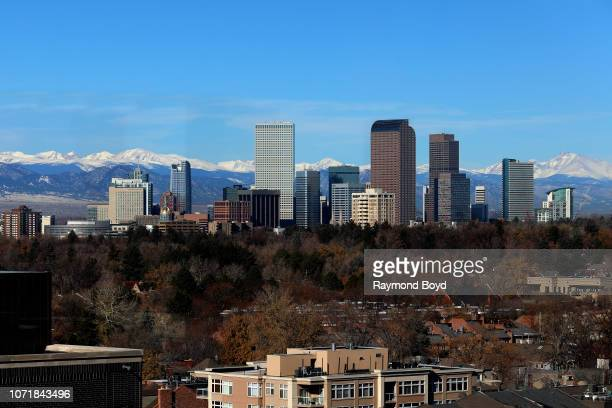 Downtown Denver skyline, photographed from the Jacquard Hotel rooftop in Denver, Colorado on November 14, 2018.