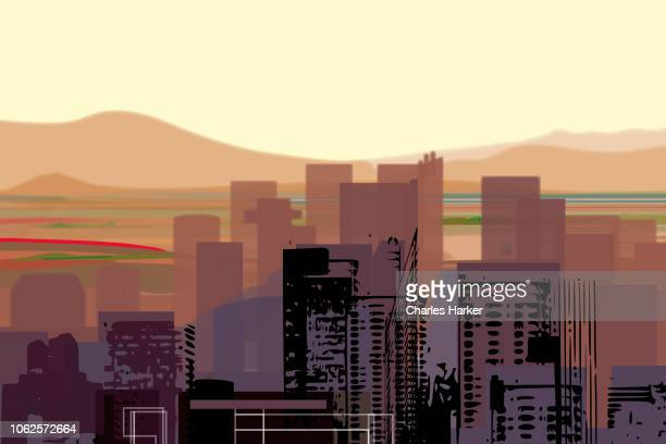 Downtown Desert City Digital Illustration