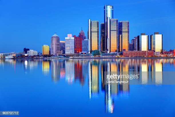 downtown detroit, michigan skyline - detroit river stock photos and pictures