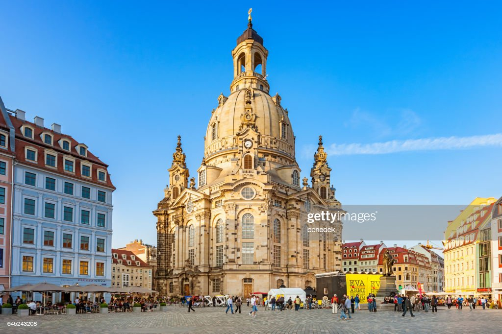 Downtown Dresden Germany with Frauenkirche and Neumarkt Square : Stock Photo