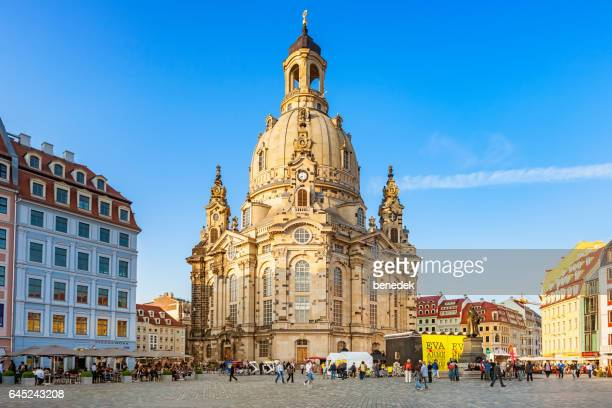 Downtown Dresden Germany with Frauenkirche and Neumarkt Square