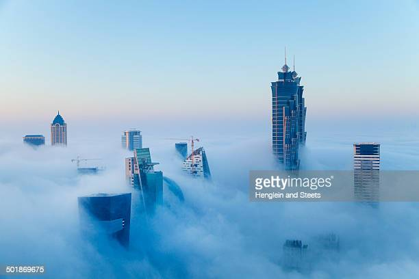 downtown dubai at dawn, united arab emirates - tall high stock photos and pictures