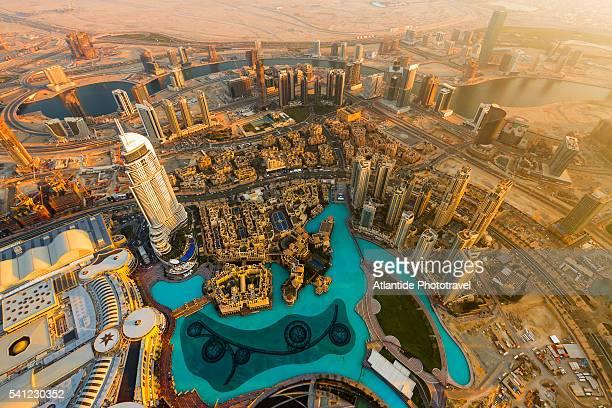 Downtown Dubai, At The Top Burj Khalifa, Sky Observation Desk (the tallest observation desk of the world), the Dubai Fountain pool, the Address Downtown Dubai and the Downtown