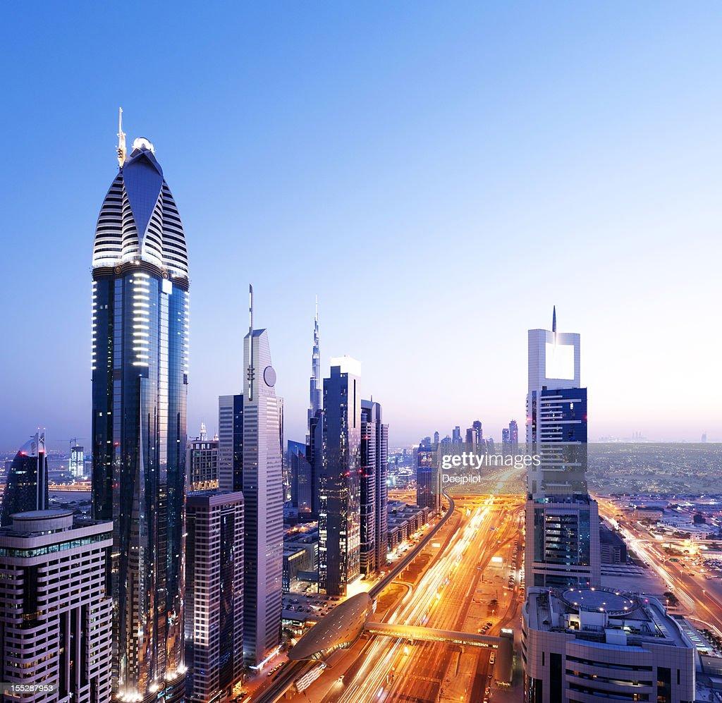 El centro de la ciudad de Dubai, Emiratos Árabes Unidos : Foto de stock