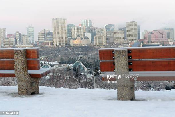 downtown edmonton, alberta, canada at sunrise