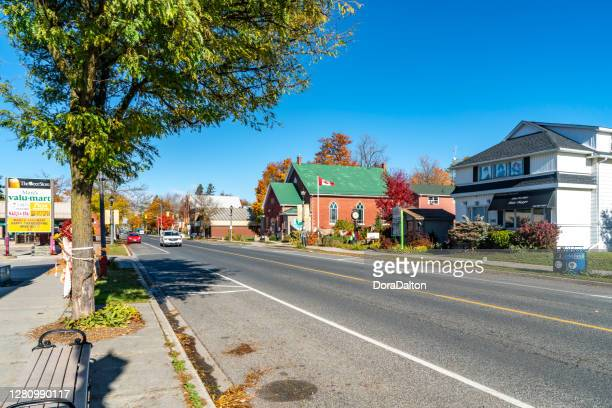 downtown erin main street view, town hall in autumn, wellington county, ontario, canada - town_(wisconsin) stock pictures, royalty-free photos & images