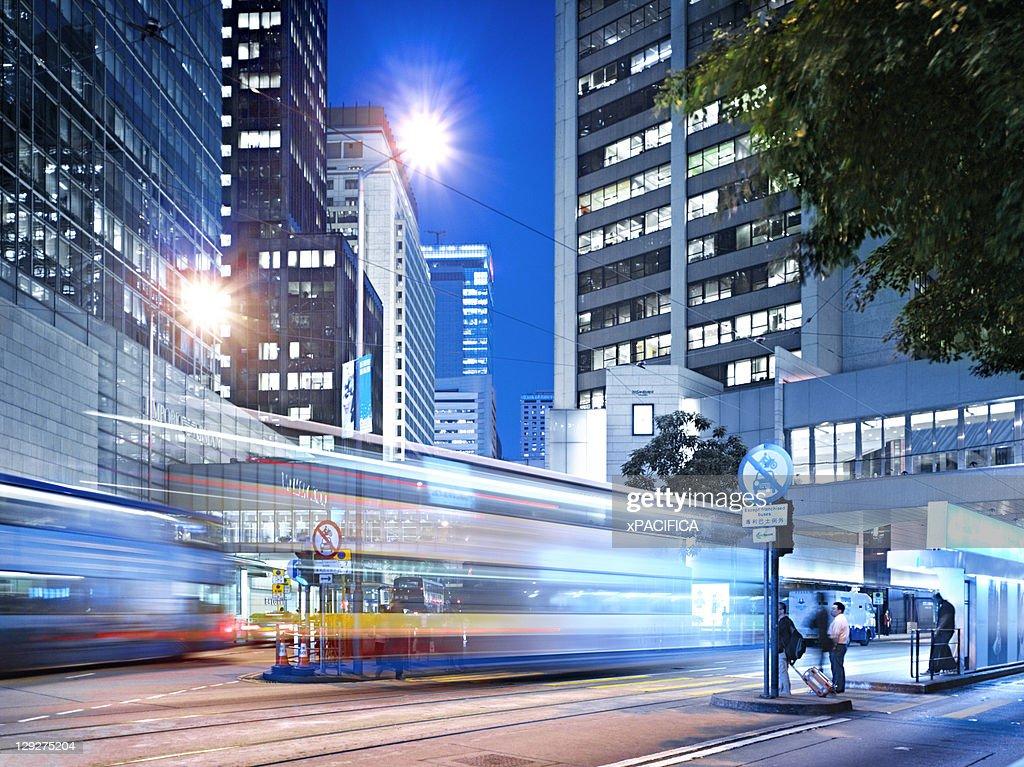 Downtown financial district of Hong Kong : Bildbanksbilder