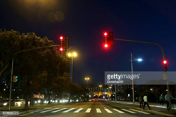 downtown florianopolis at night - semaphore stock pictures, royalty-free photos & images