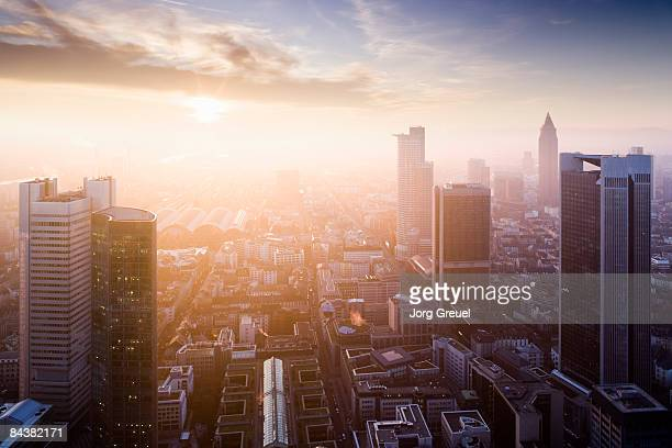 downtown frankfurt (sunset) - frankfurt stock pictures, royalty-free photos & images