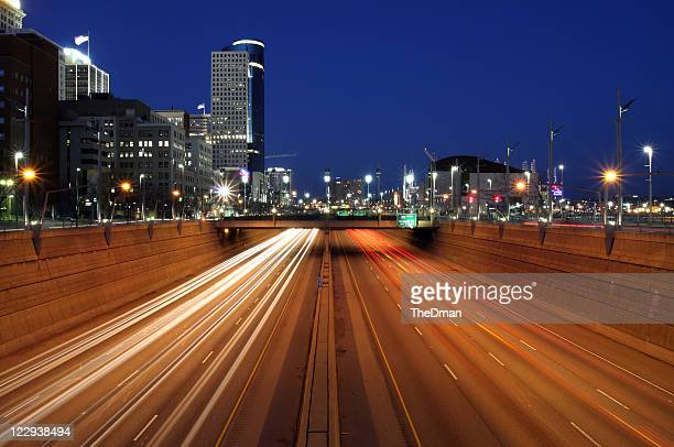 downtown freeway - cincinnati stock pictures, royalty-free photos & images